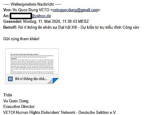 Email giả mạo danh tính của ông Vũ Quốc Dụng, Giám đốc mạng lưới nhân quyền VETO