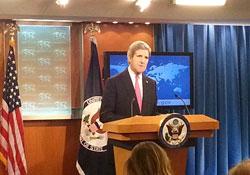 Ngoại trưởng Hoa Kỳ John Kerry phát biểu tại buổi họp báo công bố Phúc Trình Thường Niên Về Nhân Quyền Thế Giới năm 2013 được tổ chức ở Bộ Ngoại Giao Hoa Kỳ ngày 27/2/2014. RFA PHOTO.