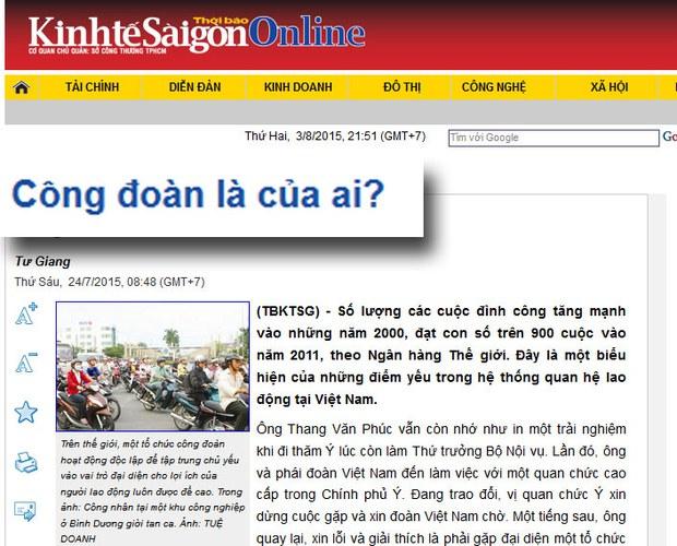 Bài Công đoàn là của ai đăng trên Thời báo kinh tế Sài gòn ngày 24 tháng 7, 2015