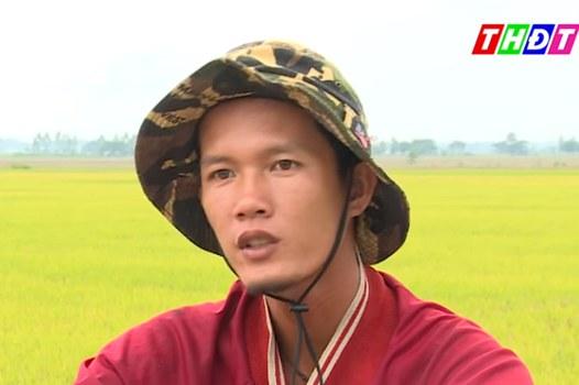 Nông dân 9X Võ Văn Tiếng bên cánh đồng lúa hữu cơ ở huyện Hồng Ngự, tỉnh Đồng Tháp.