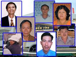 Bảy nhà dân chủ bị đưa ra xét xử ngày 30/5 tại tòa án Nhân dân tỉnh Bến Tre. Photo courtesy of Viettan.