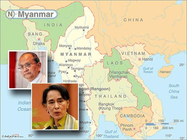 Bản đồ Miến Điện và Việt Nam (minh họa)