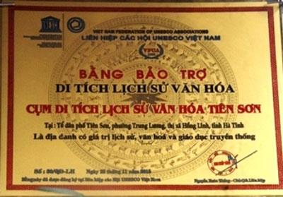 Bằng bảo trợ của Liên hiệp các Hội UNESCO  Việt Nam cho Di tích Tiên Sơn. Ảnh minh họa.