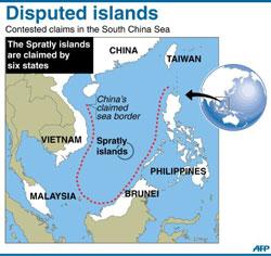 Bản đồ lưỡi bò do TQ đơn phương công bố chủ quyền trên biển đông. AFP.