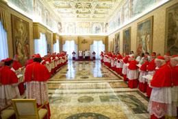 Hôm 11 tháng 2, 2013, Đức Giáo hoàng Benedict XVI tham dự một một buổi hội nghị thường ngày tại Vatican. AFP