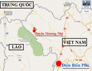 Bản đồ huyện Mường Nhé, tỉnh Điện Biên và vùng phụ cận
