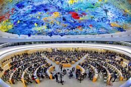 Quang cảnh buổi họp của Hội đồng Nhân quyền Liên Hiệp Quốc tại Genève. AFP