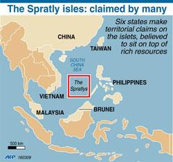 Bản đồ khu vực tranh chấp trên biển Đông. AFP GRAPHIC.