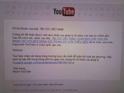 Ảnh minh họa. Google thông báo xóa clip trên Youtube. Google thông báo xóa clip trên Youtube.
