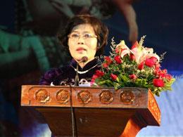 Phó Chủ tịch Ủy ban Nhân dân Thành phố Hồ Chí Minh Nguyễn Thị Hồng phát biểu khai mạc ngày 3/4/2013.Photos: Quốc Việt/RFA