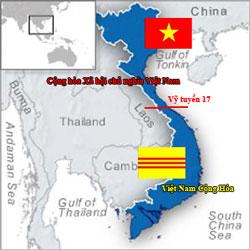 Bản đồ Việt Nam trước 1975 chia làm hai tại vĩ tuyến 17 : Cộng hòa Xã hội chủ nghĩa Việt Nam và Việt Nam Cộng Hòa. RFA file
