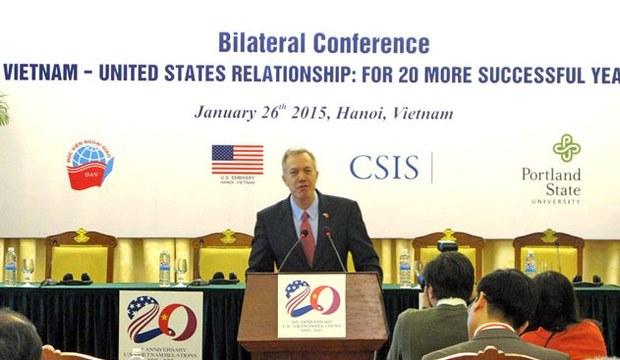 Đại sứ Mỹ Ted Osius phát biểu tại lễ khai mạc Hội thảo Quan hệ Việt Nam - Hoa Kỳ: 20 năm thành công hơn nữa.