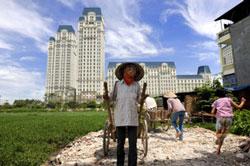 Đất trồng hoa màu bên cạnh những tòa nhà căn hộ cao cấp tại quận Cầu Giấy, thành phố Hà Nội hôm 24 tháng 06 năm 2010. AFP.