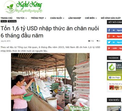Việt Nam mỗi năm lại phải nhập từ 3 đến 4 tỷ USD bắp, đậu nành và nguyên liệu làm thức ăn chăn nuôi (Screenshot Nghề Nông)