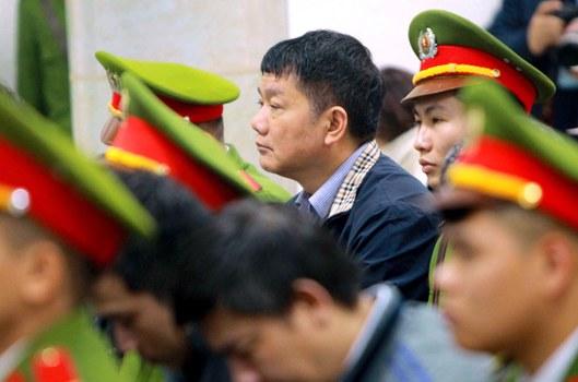 Ông Đinh La Thăng tại phiên xử ở Hà Nội ngày 22/1/2018