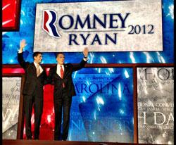 Ông Mitt Romney và ông Paul Ryan tại Đại hội đảng Cộng Hòa ở Tampa, Florida ngày 29 tháng 8 năm 2012. Courtesy mittromney.com