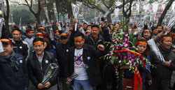 Hôm 16/2/2014, người dân Hà Nội biểu tình tưởng niệm 35 năm ngày chiến tranh biên giới với Trung Quốc. AFP photo