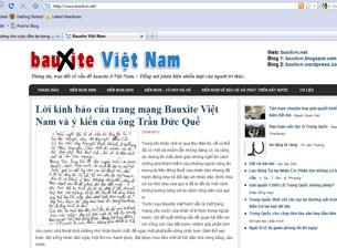 Trang bìa của mạng Bauxite Việt Nam (boxitvn.net). RFA screen cap