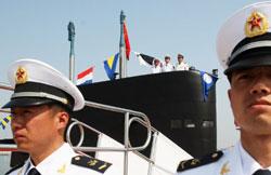 Hải quân Trung Quốc tại cảng Thanh Đảo. AFP photo