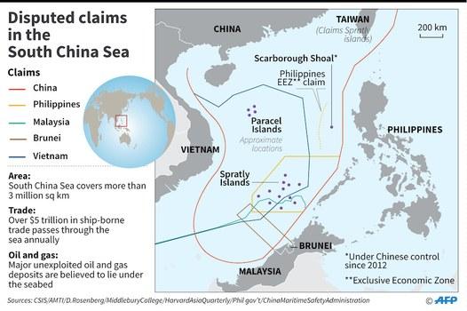 Hình minh hoạ. Bản đồ có hình lưỡi bò mà Trung Quốc tự vẽ ra trên Biển Đông