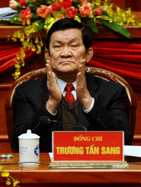 Ông Trương Tấn Sang, tại Đại hội lần thứ 11 của Cộng sản Việt Nam Đảng (VCP) tại Hà Nội ngày 12 tháng 1 năm 2011. AFP PHOTO / HOANG DINH Nam.