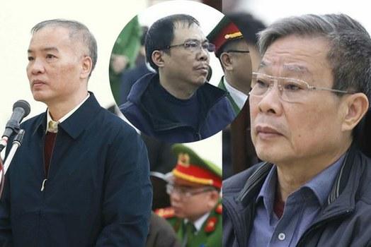 Các bị can trong vụ MobiFone mua AVG: Lê Nam Trà (ngoài cùng bên trái), Phạm Nhật Vũ (giữa), Nguyễn Bắc Son