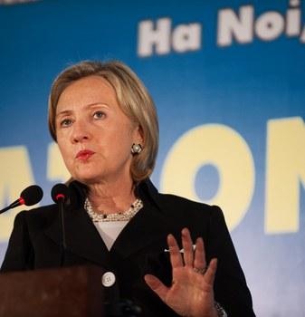 Ngoại trưởng Mỹ Hillary Clinton phát biểu tại cuộc họp báo ở Hà Nội hôm 23/7/2010