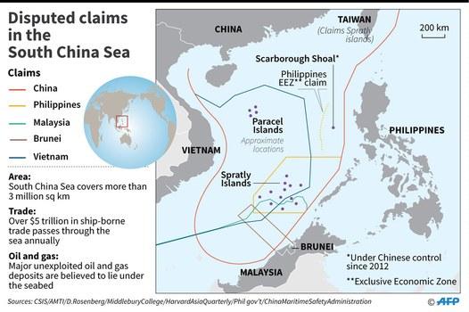 Bản đồ Biển Đông với đường đứt khúc 9 đoạn mà Trung Quốc tự vẽ ra
