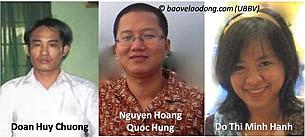 Anh Chương, anh Hùng và chị Hạnh. RFA file (UBBVLD)