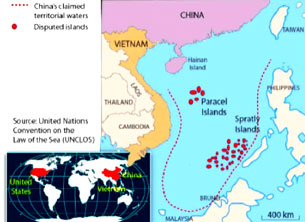 """""""Vùng lưỡi bò"""" trên biển Đông do Trung Quốc đưa ra. Source UNCLOS"""