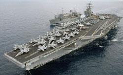HKMH USS Truman và tàu tiếp vận USS Spica- World Examiner photo