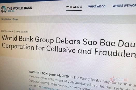 World Bank công bố thông báo cậm vận SBD 7 năm, vào ngày 24/6/2020.