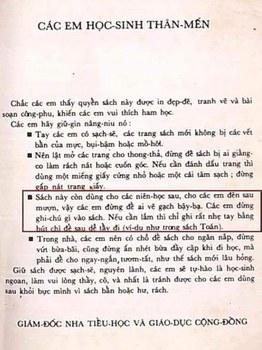 Một trang trong sách giáo khoa thời Việt Nam Cộng Hòa.