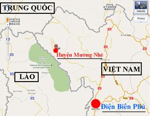 Bản đồ huyện Mường Nhé, tỉnh Điện Biên và vùng phụ cận. RFA/Google map