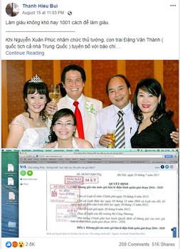 Hình minh họa. Ảnh chụp một trạng thái post trên trang Facebook của Người Buôn Gió với hình ảnh và thông tin về Thủ tướng Nguyễn Xuân Phúc