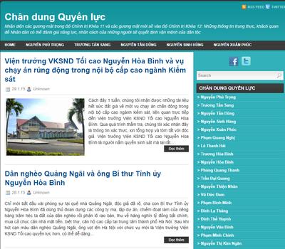 Ảnh chụp màn hình trang web Chân Dung Quyền Lực chuyên đưa tin về các lãnh đạo Đảng Cộng sản VN