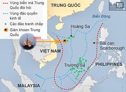 Vị trí của giàn khoan HD 981 trong thềm lục địa của Việt Nam. RFA files:UNCLOS-CIA
