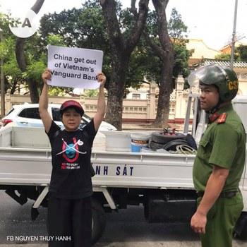 Biểu tình phản đối Trung Quốc ở trước tòa Đại sứ Trung Quốc ở Hà Nội hôm 6/8/2019