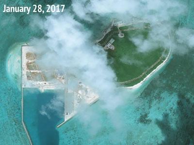 Bãi Đá Vành Khăn, nơi Trung Quốc bồi đắp thành đảo nhân tạo.