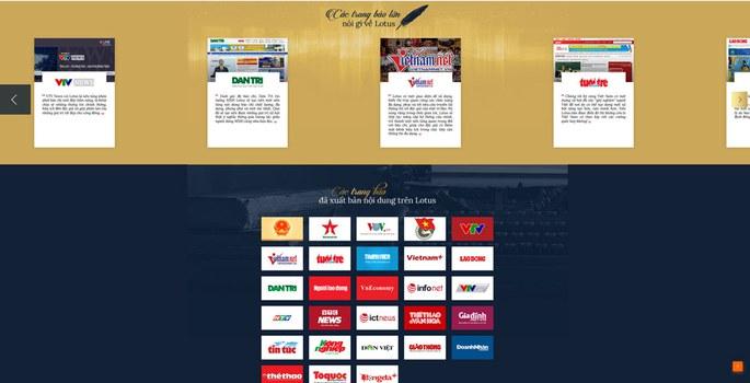 Các trang báo sản xuất nội dung cho Lotus.