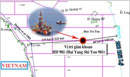 Dàn khoan Trung Quốc HD 981 định vị khoan tại vị trí có tọa độ 15029' vĩ độ bắc, 111012' độ kinh đông, cách bờ biển Việt Nam khoảng 120 hải lý (theo petrotimes)