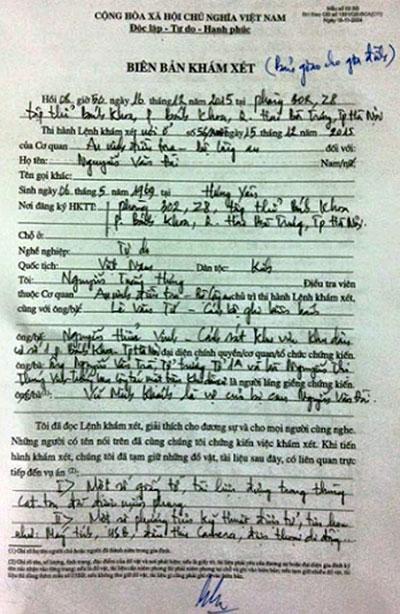 Biên bản khám nhà và bắt giam Luật sư Nguyễn Văn Đài.