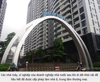 Chính phủ Việt Nam thừa nhận, một số cơ sở sau di dời được sử dụng quỹ đất này để đầu tư xây dựng các dự án nhà ở, trung tâm thương mại.