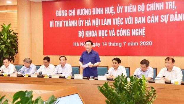 Bí thư Thành ủy Hà Nội Vương Đình Huệ, tại buổi làm việc với Bộ Khoa học và Công nghệ hôm 14 tháng 7 năm 2020.