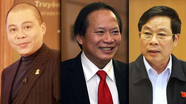 Hai ông cựu Bộ trưởng Trương Minh Tuấn (ở giữa) và Nguyễn Bắc Son (bìa phải) tham nhũng số tiền hơn 6 triệu USD trong thương vụ Mobifon mua 95% cổ phần của AVG.