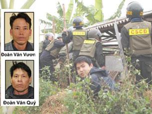 Lực lượng cưỡng chế thu hồi đất nhà anh Vươn hôm 05/1/2012. Photo courtesy of phapluat.vn