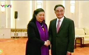 Ông Ngô Bang Quốc Ủy viên thường vụ Bộ chính trị BCH trung ương ĐCS Trung Quốc tiếp bà Tòng Thị Phóng, Ủy viên Bộ Chính trị, Phó Chủ tịch Quốc hội Việt Nam