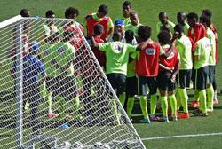 Đội tuyển Brazil trên sân tập Sesc Club ở Belo Horizonte hôm 27 tháng 6 năm 2014. AFP PHOTO / VANDERLEI ALMEIDA.