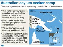 Bản đồ các trại tị nạn của Úc trên Đảo Manus, Papua New Guinea. AFP PHOTO.