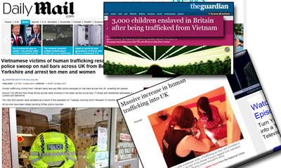 Nhiều báo chí Anh đưa tin nạn buôn người ngày một gia tăng